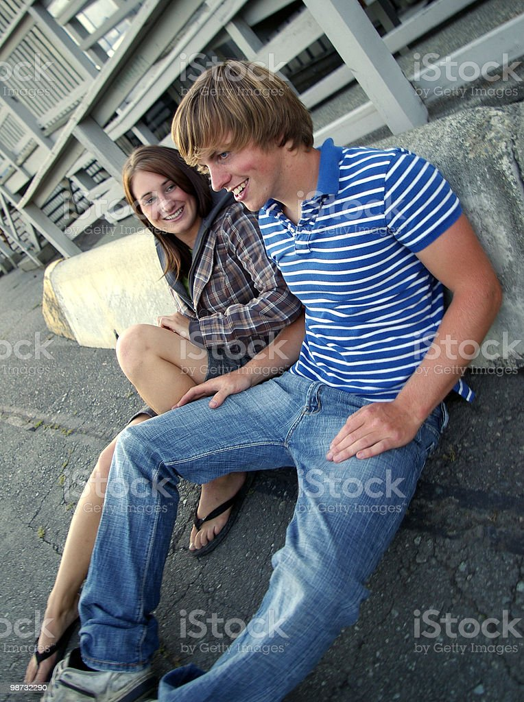 Couple Outside royalty-free stock photo