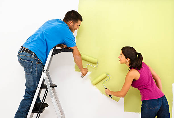 Couple painting home. stock photo