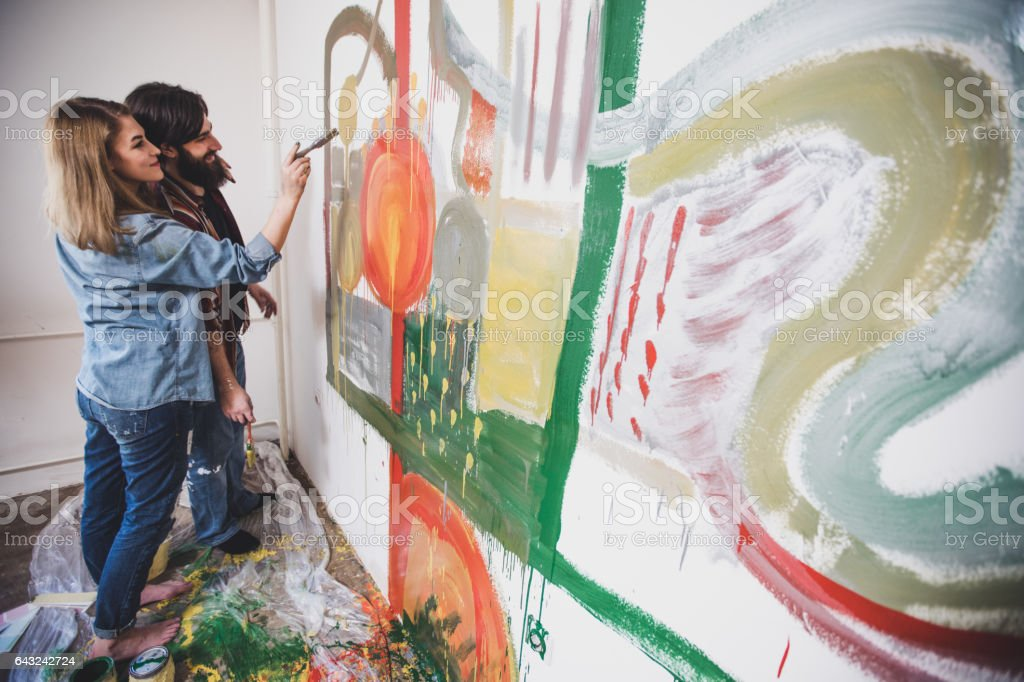 Couple Painting Together Royalty Free Stock Photo
