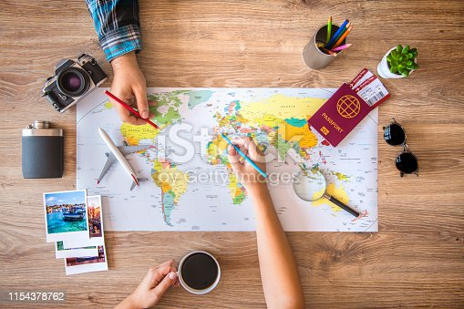 istock Couple planning a travel 1154378762