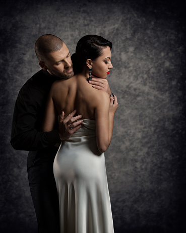 Couple Portrait Man Woman In Love Embracing Elegant Sexy