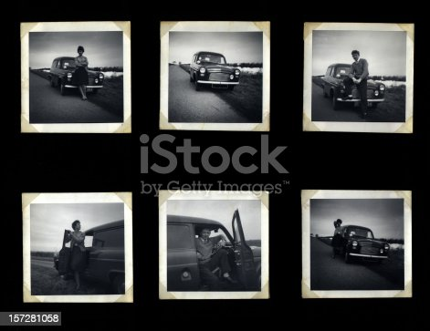 vintage photographs in an old album page showing a young couple posing with their car