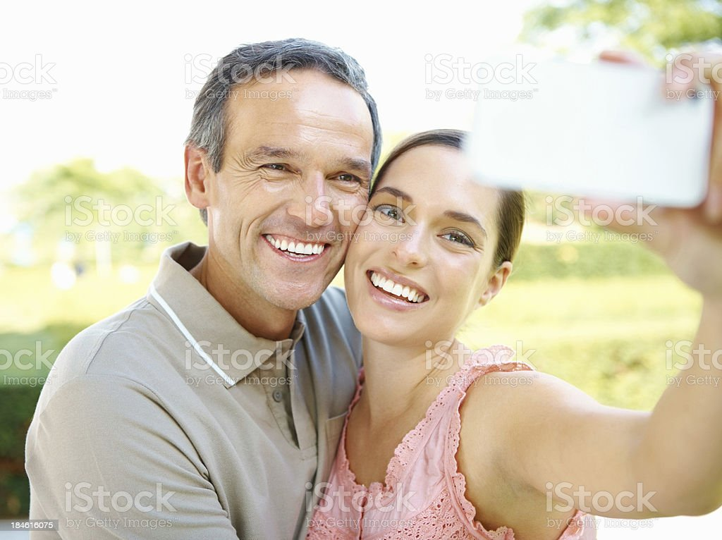 Couple posing for a self portrait royalty-free stock photo