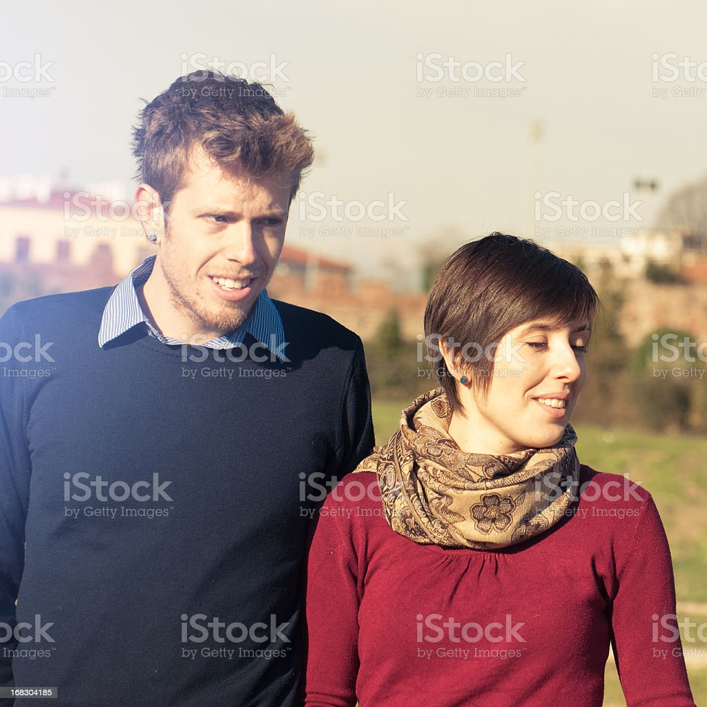 Couple posing outdoors royalty-free stock photo