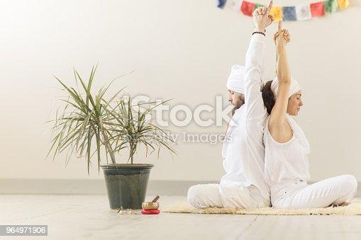1060280760istockphoto Couple practicing kundalini yoga and meditating back to back 964971906