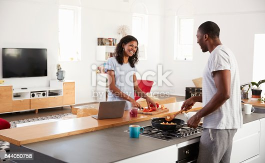 844050630 istock photo Couple Preparing Meal Together In Modern Kitchen 844050758