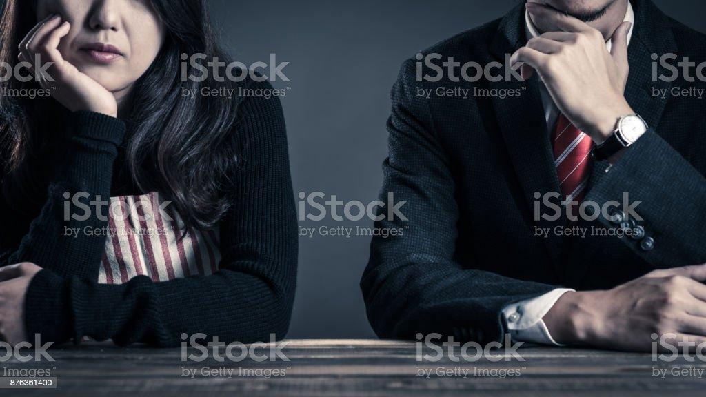 Couple relationship, housewife and office worker stock photo