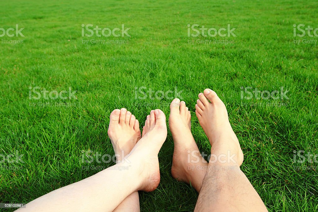 Couple Relax barefoot enjoy nature stock photo