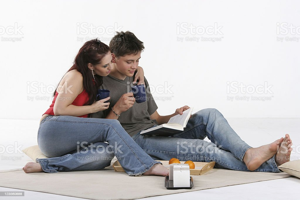 Couple relaxed at home royalty-free stock photo