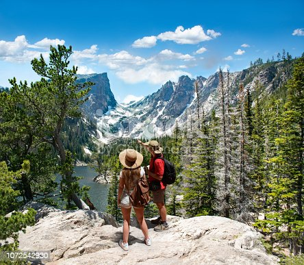 Couple relaxing and enjoying beautiful mountain view. Man and woman with backpacks looking at Dream Lake.Early summer landscape with lake  and snow covered mountains.Rocky Mountains National Park, USA