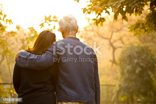 Rear view of senior couple relaxing at park