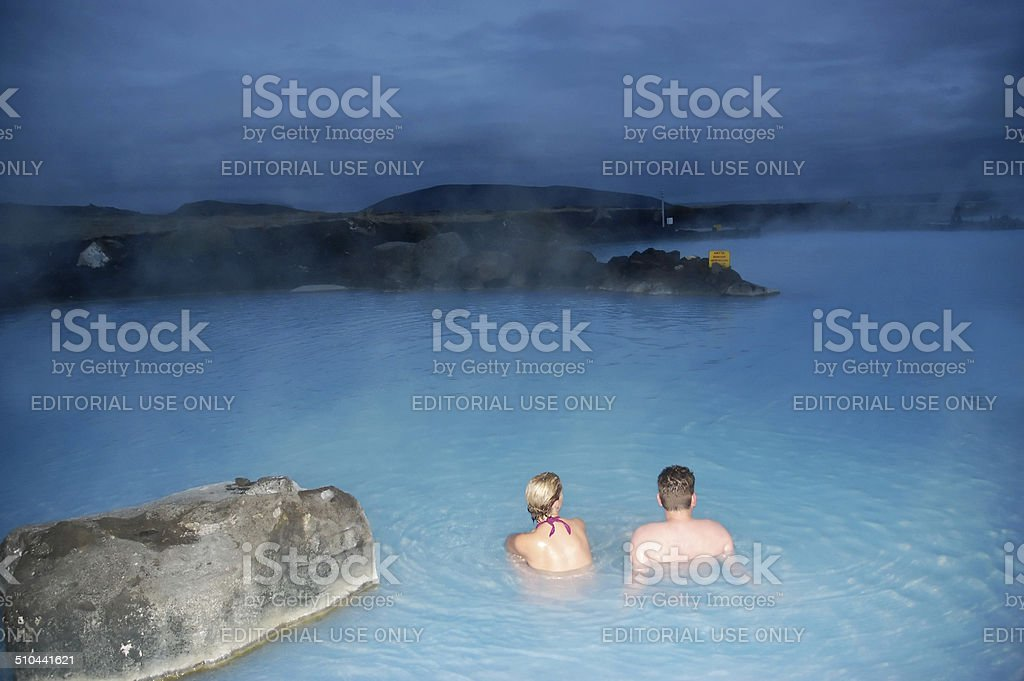 Couple relaxing in the Blue Lagoon stock photo