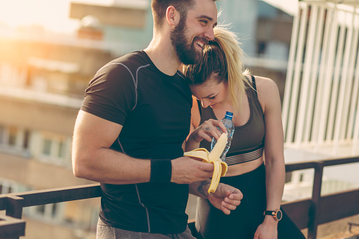 istock Couple resting after a workout 1001628258