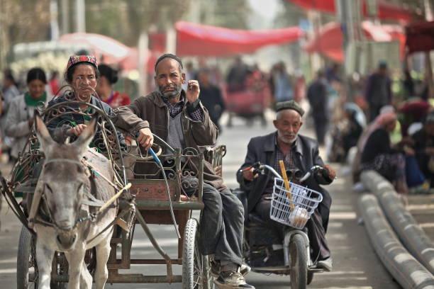 Paar Reiten ein Esel Wagen alten Mann auf seinem Trike. Hotan Viehmarkt-Xinjiang-China-0188 – Foto