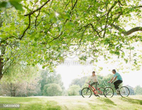 istock Couple riding bicycles underneath tree 108359509