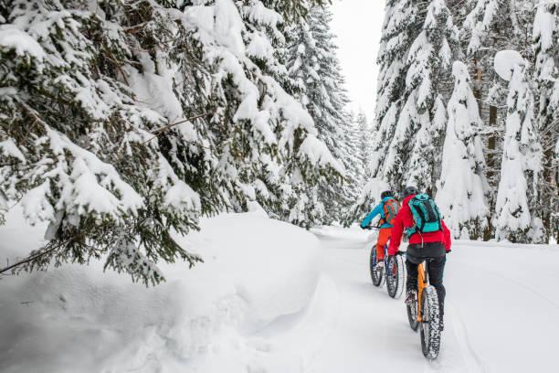 paar, die ihre fette fahrrad fahren auf verschneiten waldweg - trainingshose stock-fotos und bilder