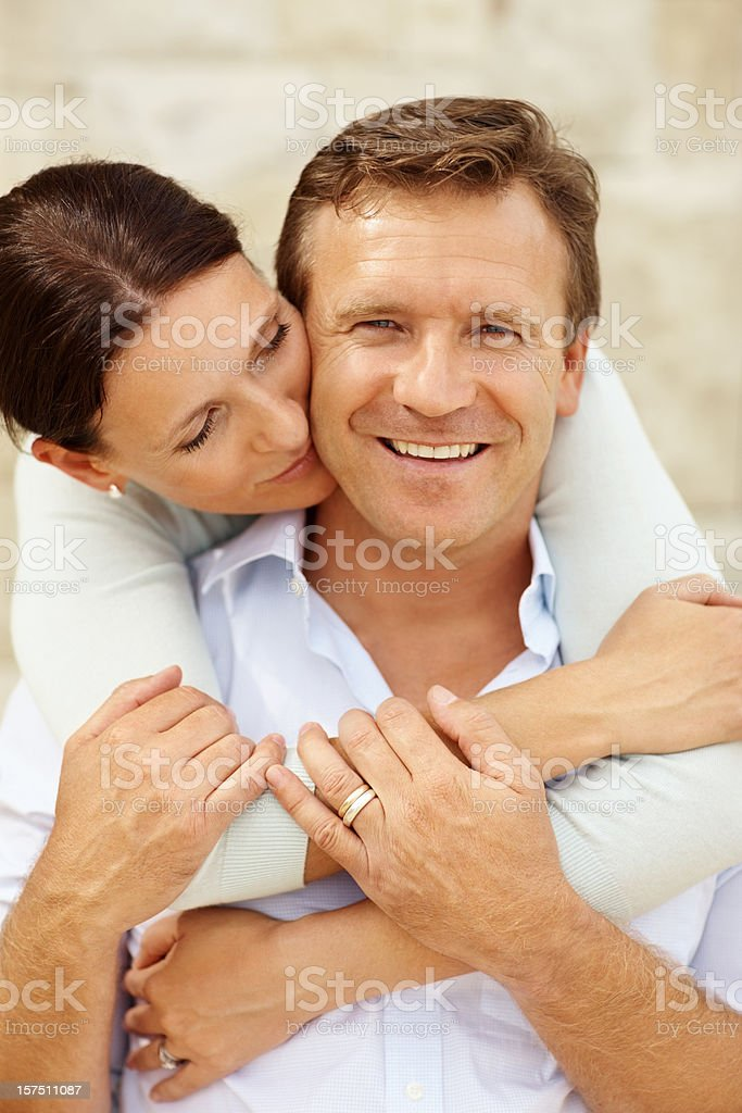 Couple romancing outdoors royalty-free stock photo