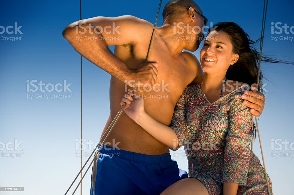 Couple sailing royalty-free stock photo