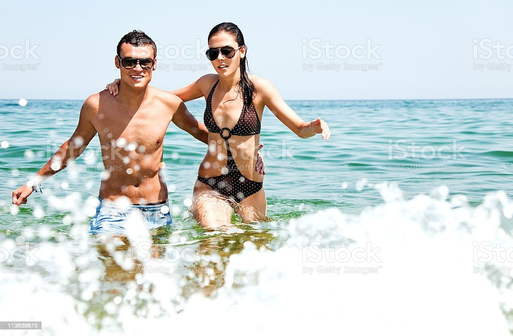 Couple sea love stock photo