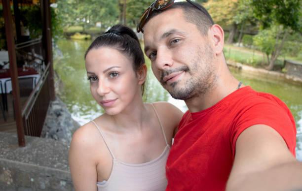 Couple selfie stock photo
