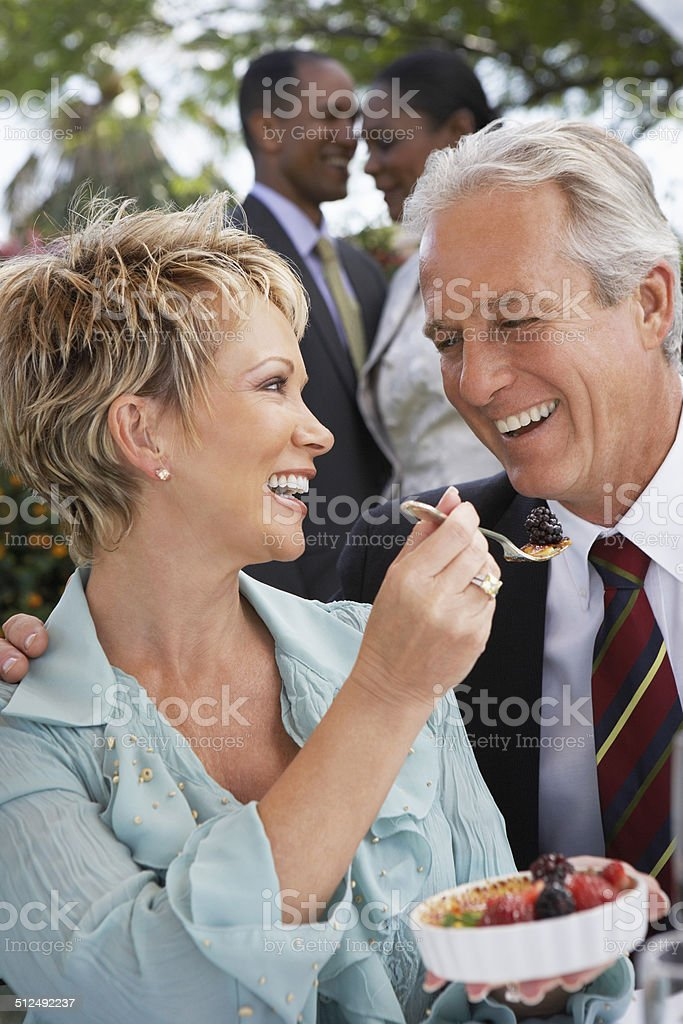 Couple Sharing a Dessert Together royalty-free stock photo