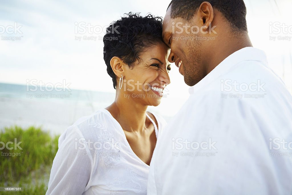 Couple sharing a romantic moment stock photo
