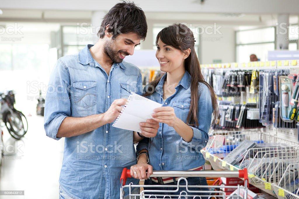 Couple shopping diy store stock photo