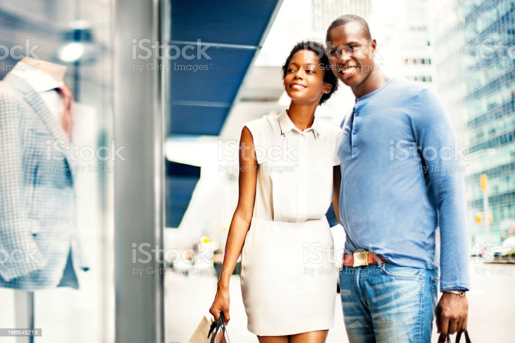 Couple shopping in NY royalty-free stock photo