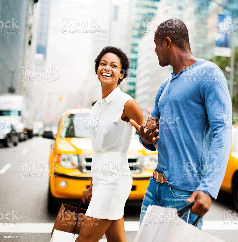 Couple shopping in NY stock photo