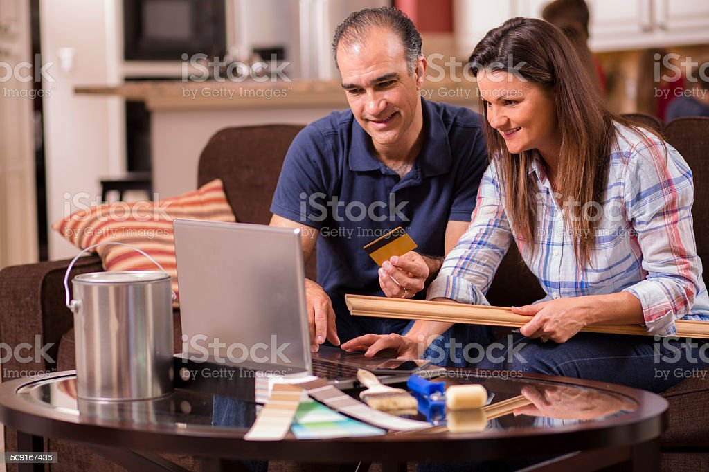 Couple Shops Online For Home Improvement Items Credit Card Stock Photo Download Image Now Istock