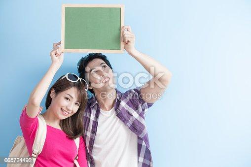 528291188 istock photo couple show chalkboard 665724492