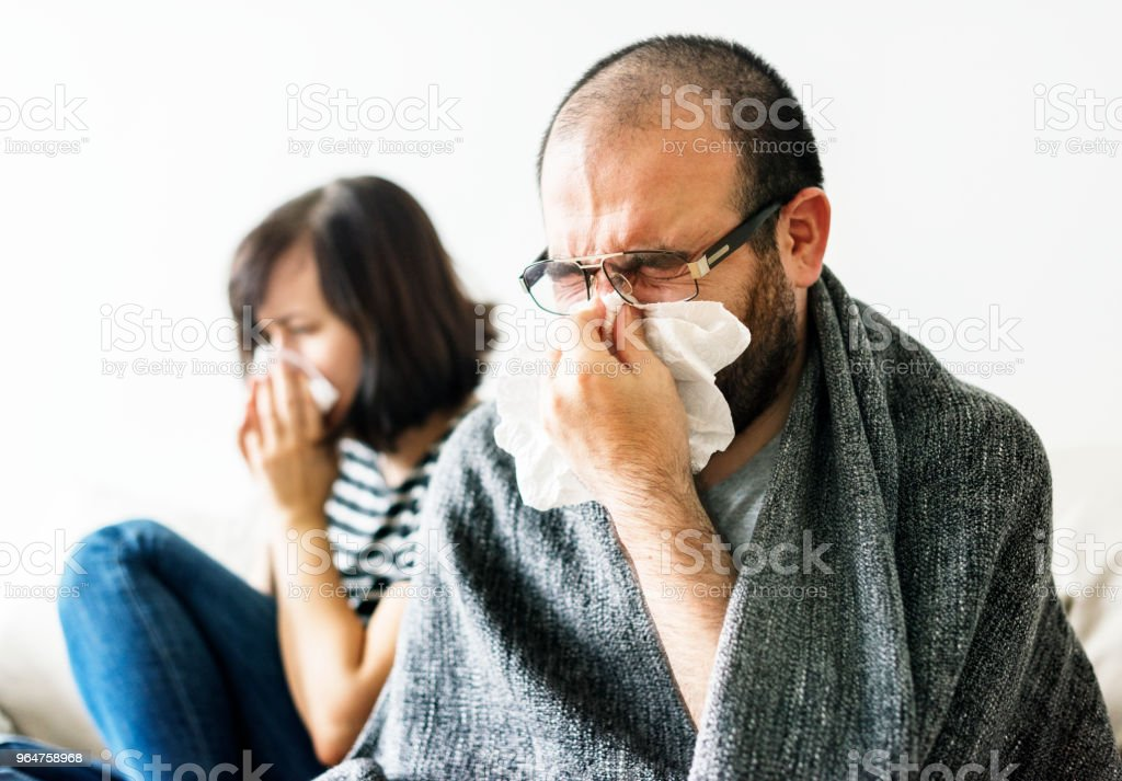 Couple sick together at home royalty-free stock photo