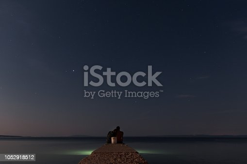 Couple sitting at the end of the pier at night