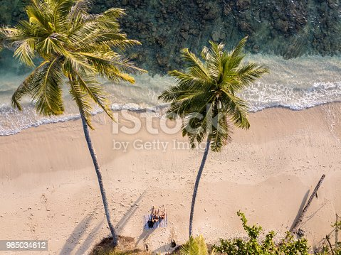 Couple sitting on the tropical beach under two palm trees