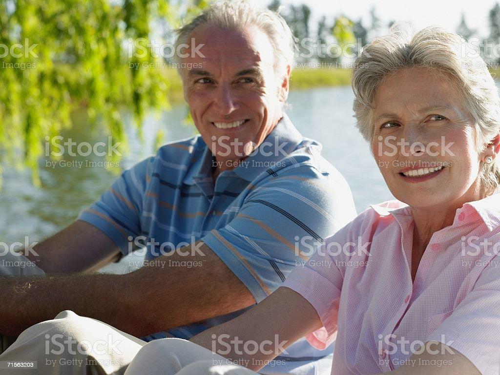 Couple sitting royalty-free stock photo