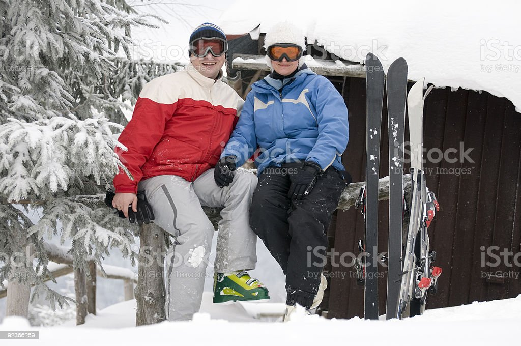Couple ski royalty-free stock photo