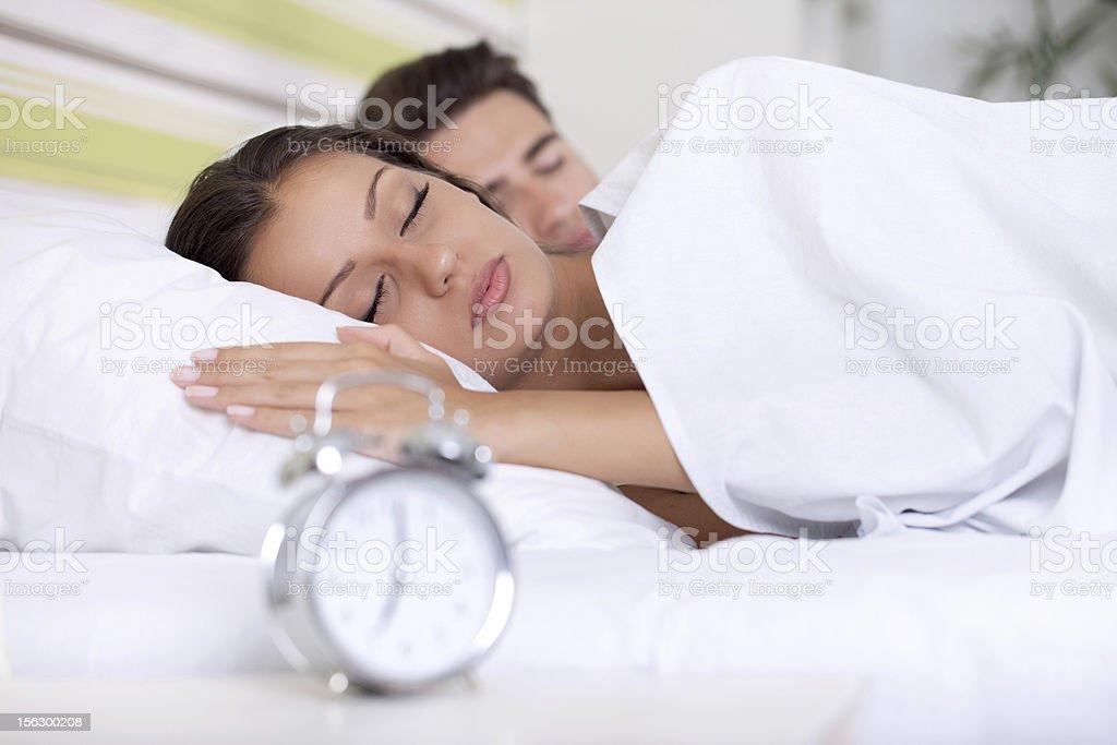 couple sleeping bed royalty-free stock photo