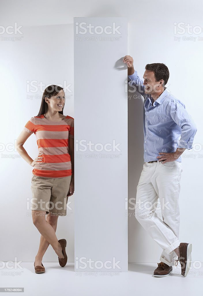 Couple smiling at each other royalty-free stock photo