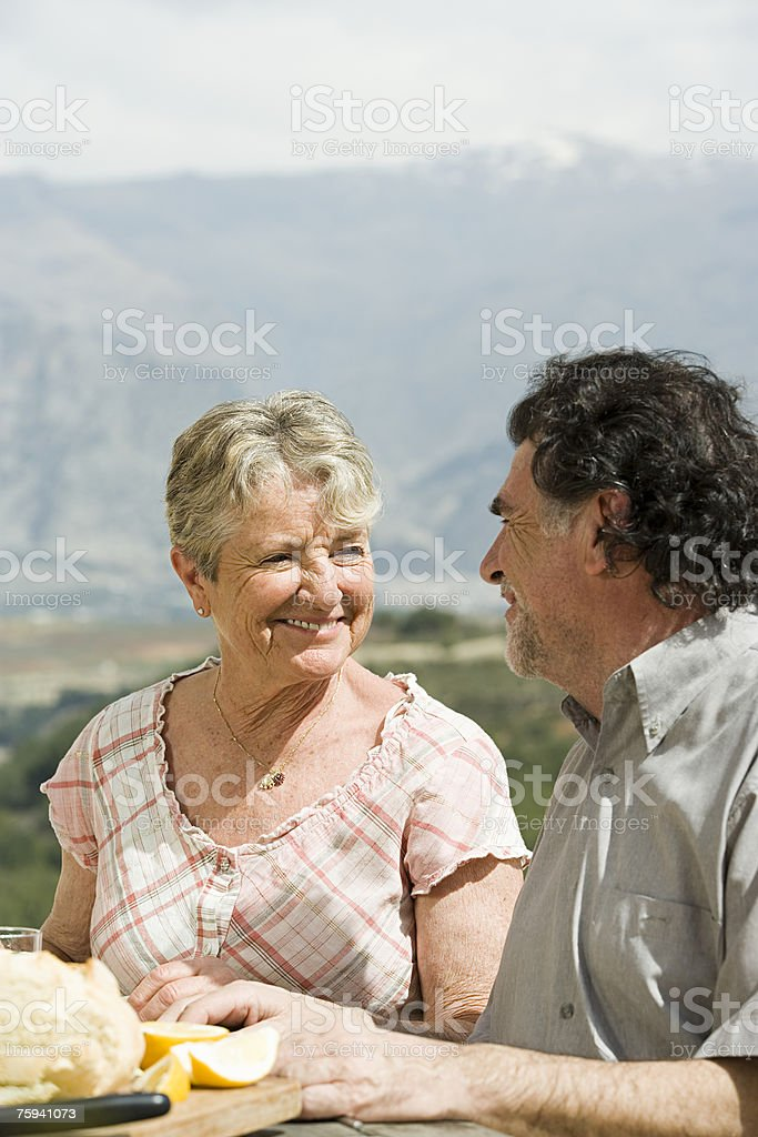 Couple smiling royalty-free stock photo
