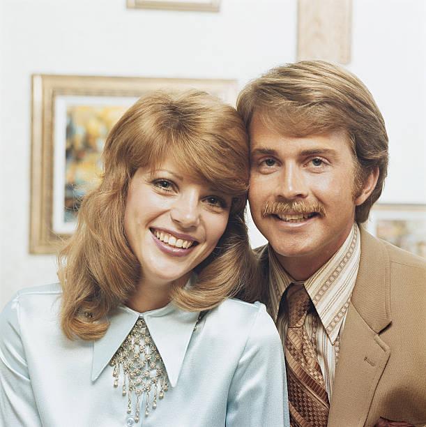 Couple smiling, portrait stock photo