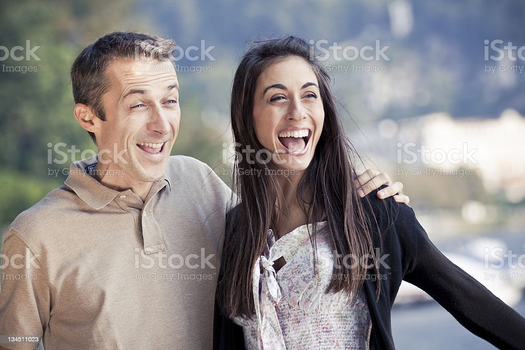 Couple Smiling Surprised royalty-free stock photo
