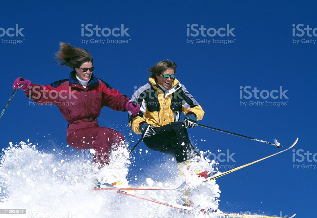 Couple Snow Skiing in Colorado royalty-free stock photo