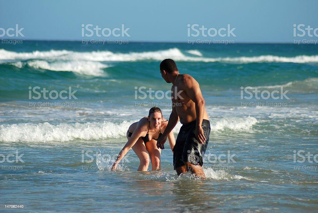 Couple Splashing royalty-free stock photo