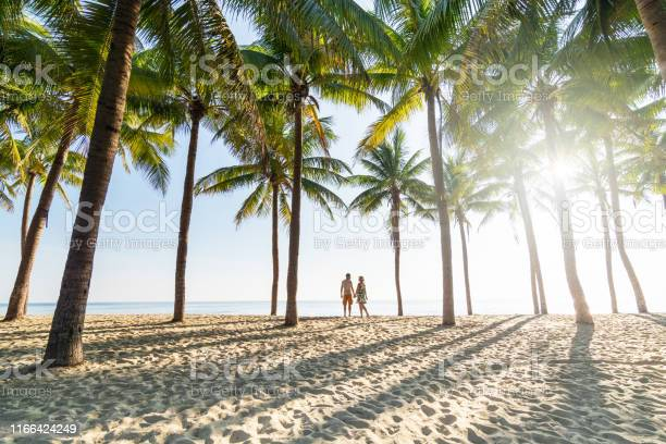 Photo of Couple standing on sandy beach among palm trees on sunny morning