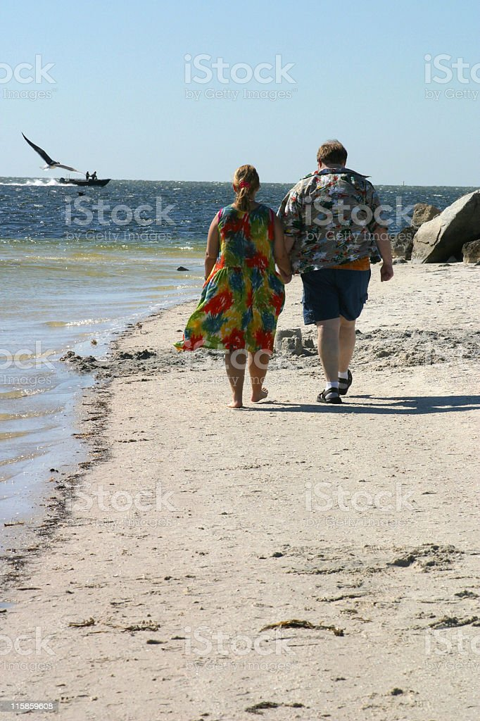 Couple Strolling on Beach royalty-free stock photo