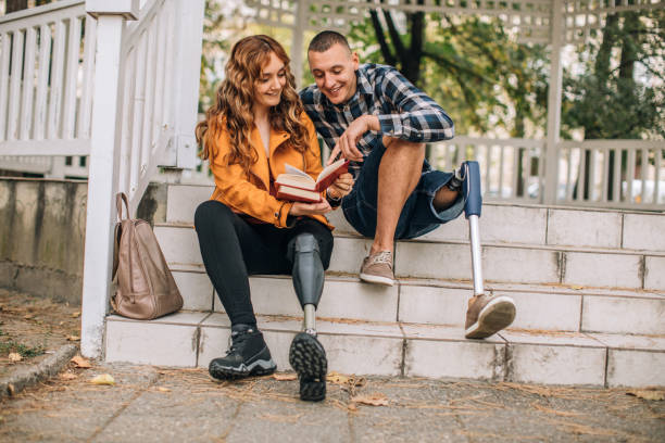 Couple studying together stock photo