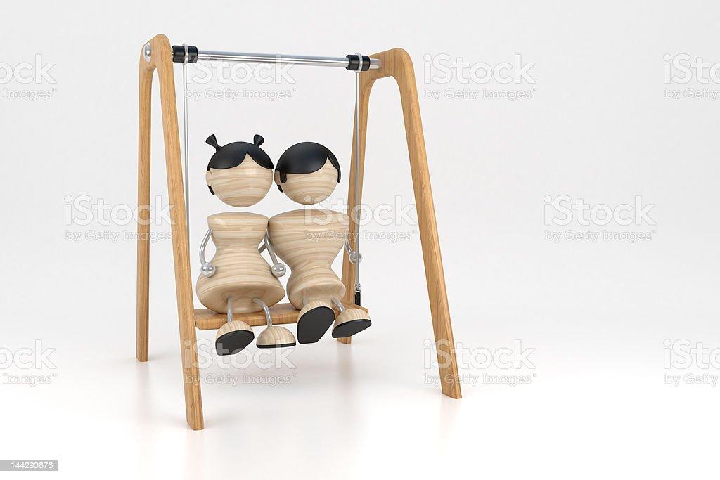 couple swings royalty-free stock photo