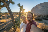 Couple take selfie in United States, people travel explore nature. Young people hiking and travels