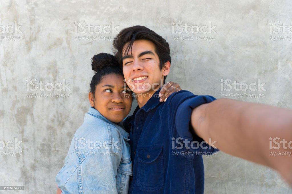Couple Takes Fun Selfie! stock photo