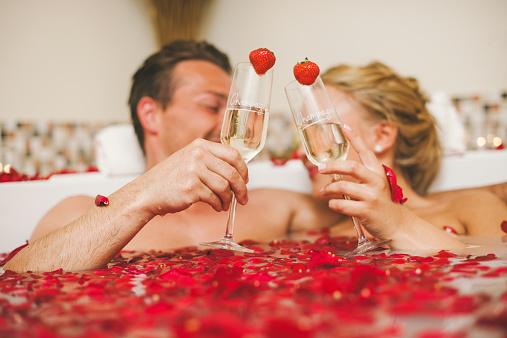 Couple Taking A Romantic Bath At The Health Spa Stock ...
